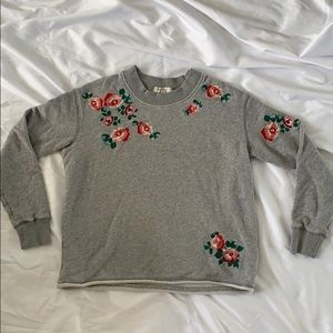 Madewell Floral Embroidered Cropped Sweatshirt